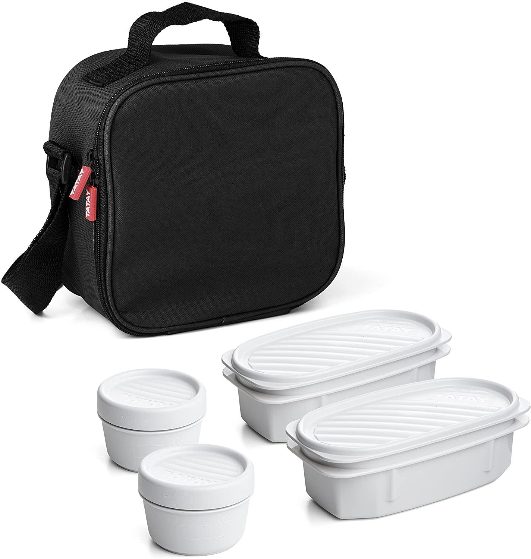 Bolsa térmica porta alimentos con 4 tapers herméticos incluidos