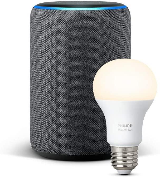 Echo Plus (2.ª generación), tela de color antracita + Philips Hue White Bombilla LED E27
