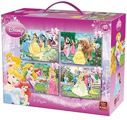 Maleta con 4 puzles en uno con personajes de Disney. Progresivo