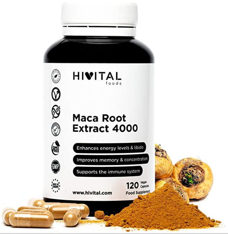 120 Cápsulas Vegetales de Extracto Concentrado de Maca Peruana Hivital Foods