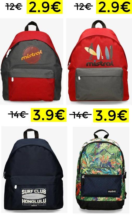 Minimazos en mochilas Mistral desde 2.9€
