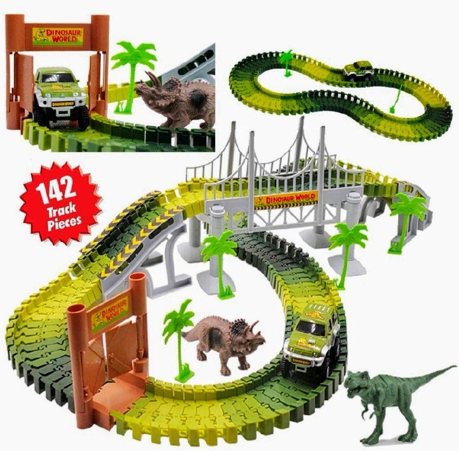 Circuito de Coches en el Parque Jurásico.Incluye Vías Flexibles, Vehículo, Dinosaurios y Accesorios.