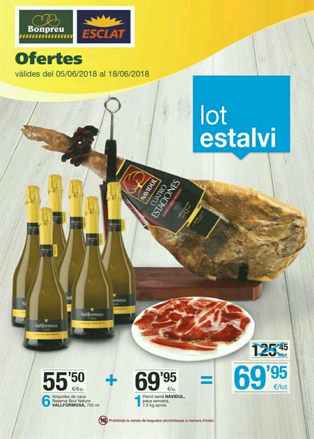 Lote ahorro Jamón Navidul + 6 botellas de Cava en Cataluña