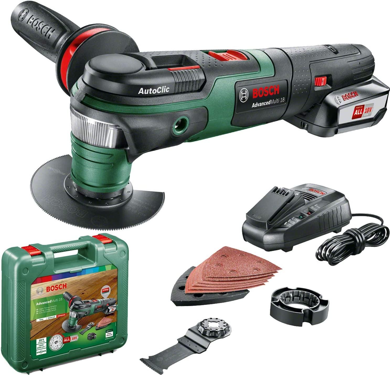 Bosch AdvancedMulti 18 - Multiherramienta a batería con maletín con accesorios (Amazon Alemania)