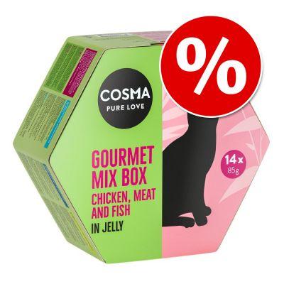 Cosma Gourmet Mix Box comida húmeda en gelatina, 14 latitas x 85 g.