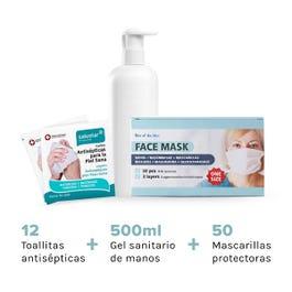 Pack de 50 mascarillas protectoras 3 capas con pinza + 12 toallitas anticepticas + 500 ml de gel hidroalcoholico.