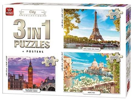 Pack de 3 Puzzles King International de 1000, 1000 y 500 piezas