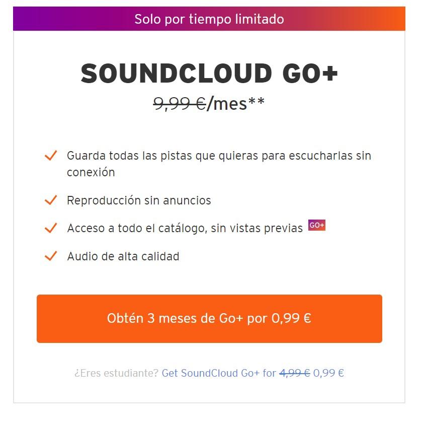 Suscripción 3 Meses Soundcloud Go+