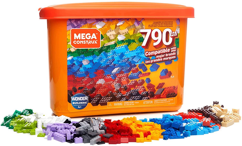 Mega- Caja de 790 piezas y bloques de construcción para niños