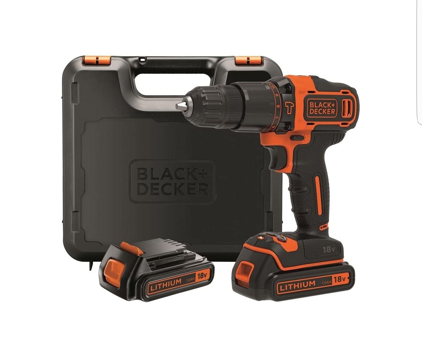 Black+Decker BDCHD18KB-QW Taladro Percutor sin accesorios, 18 W, 18 V, Negro, Naranja