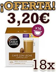 Pack 18 Dolce Gusto Café con Leche o Cortado en Formato Ahorro, salen a 3,20€.