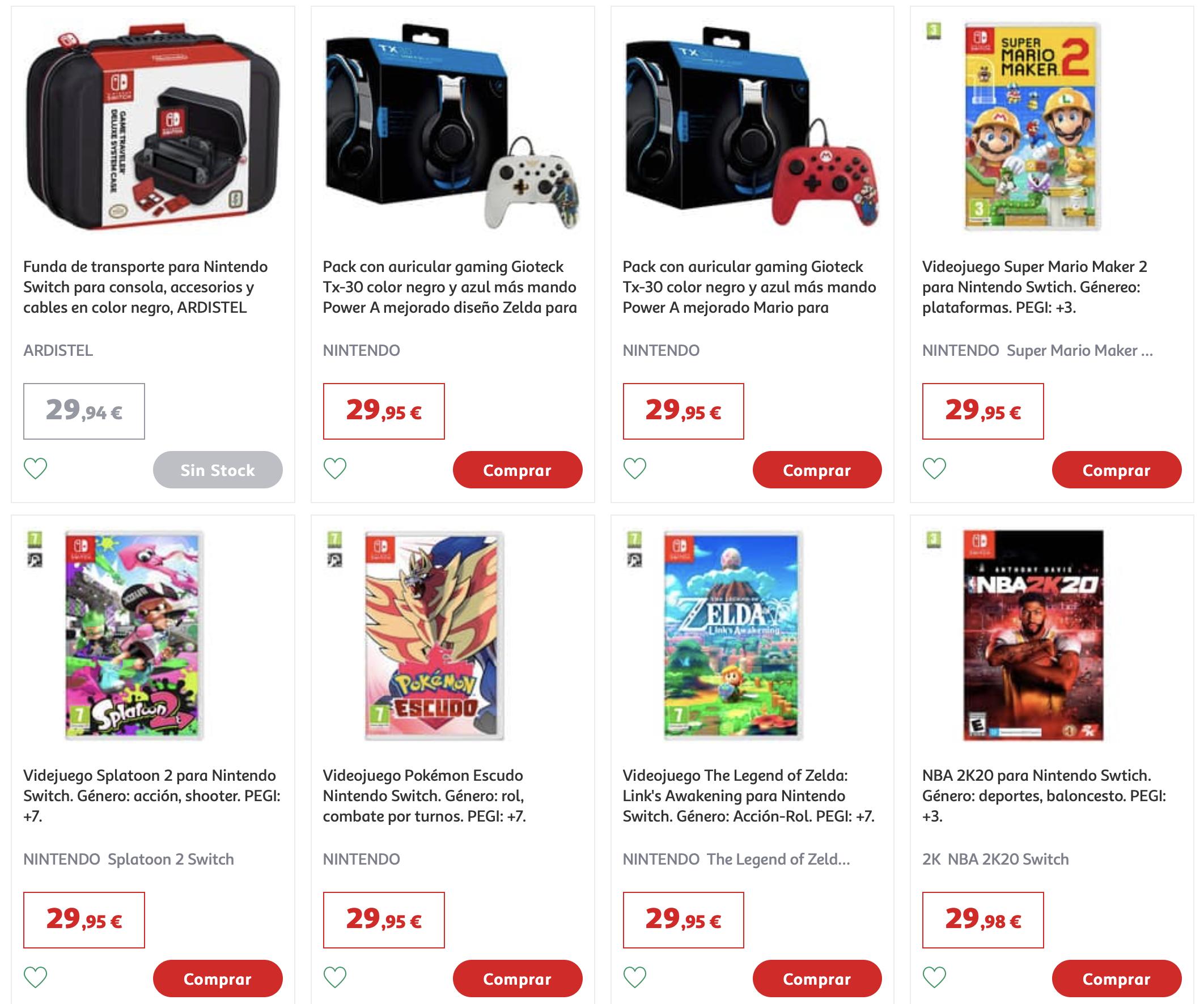 Splatoon 2, Mario Maker 2, Pokemon Escudo, Zelda Link's Awakening (Alcampo, Alcalá de Henares)