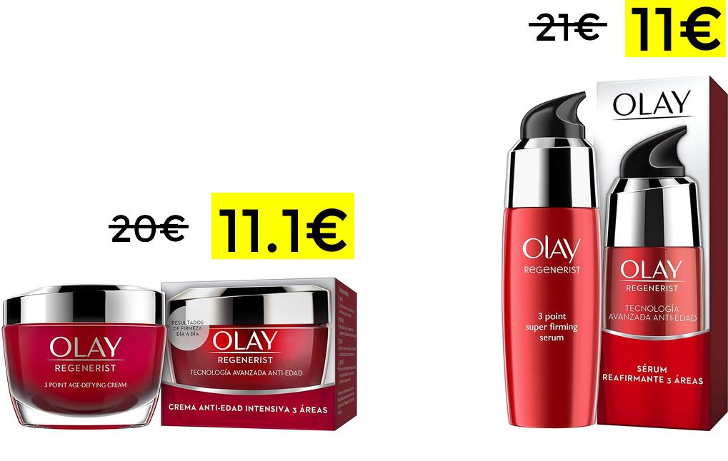 Olay Regenerist Anti-Edad sérum o crema hidratante solo 11€