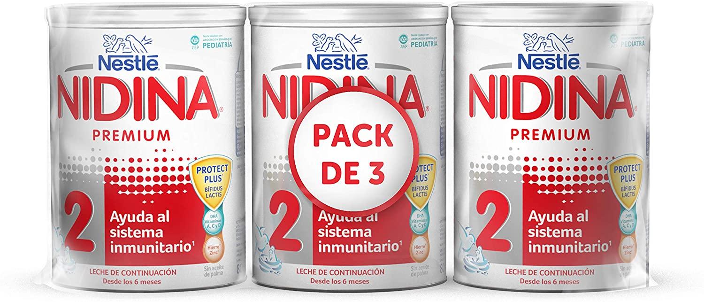 Nidina 2 Leche Infantil, Caja de 3 Latas - 2400 g (Amazon)