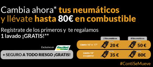 Combustible gratis al cambiar neumáticos continental