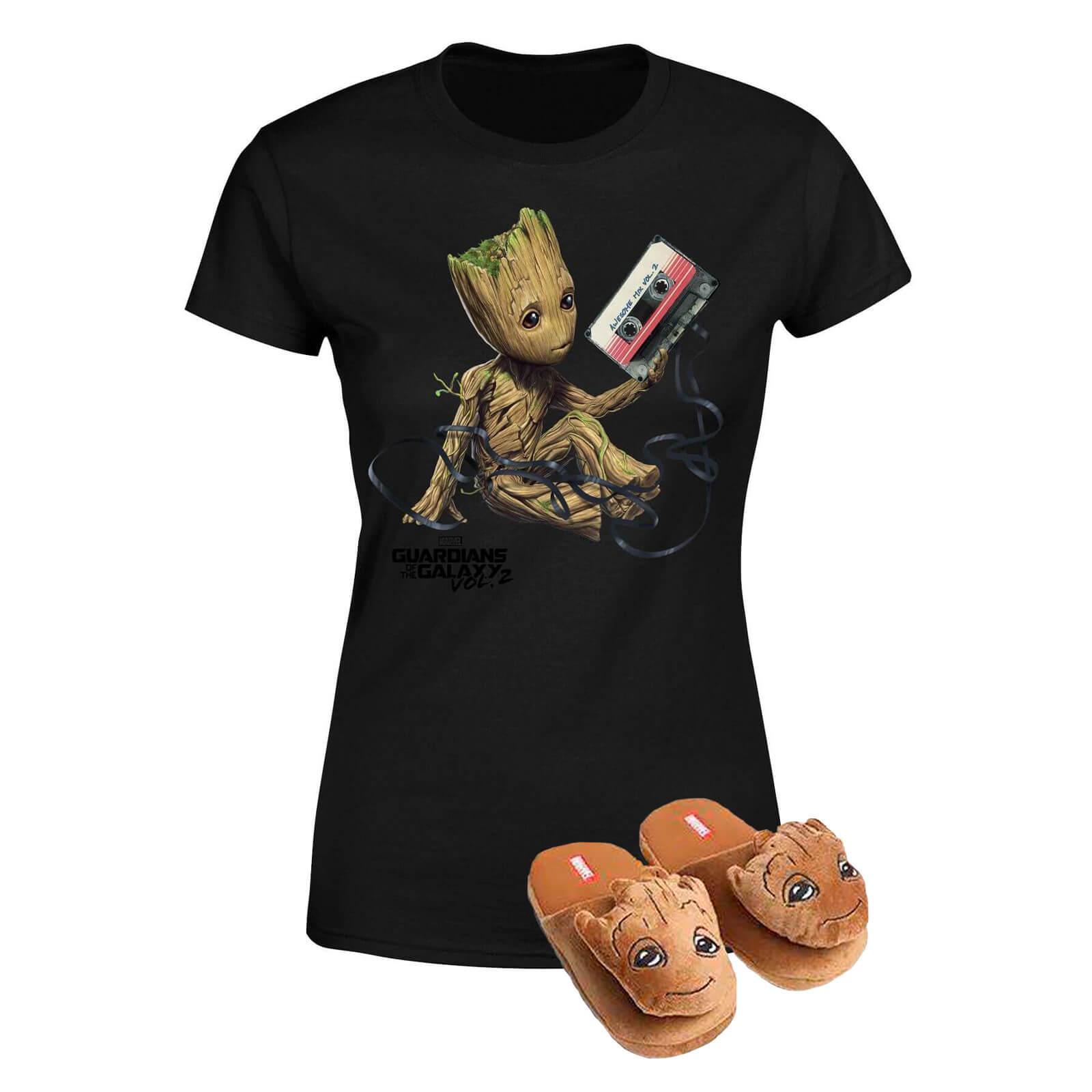 Pack Groot Guardianes de la Galaxia: Camiseta + Pantuflas - Pantuflas L-XL