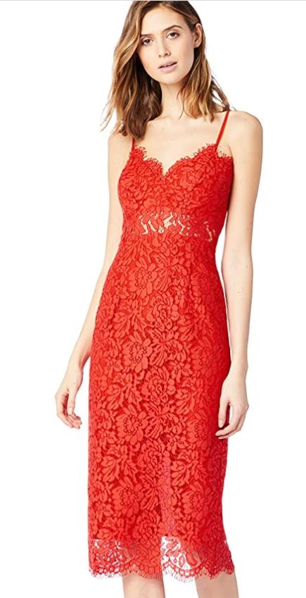 TALLA 42(L) - TRUTH & FABLE Vestido Midi de Encaje Mujer