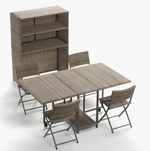 Set para balcón con Armario 1 Mesa + 4 Sillas 199€