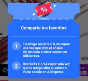 Cupón 0,94€ compartiendo producto app AliExpress