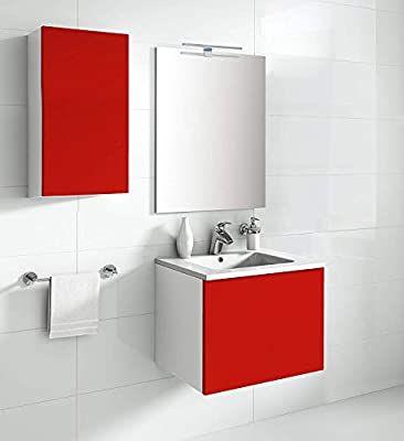 Aleghe Eris Mueble de baño, Madera, Rojo Brillo, 80.00x45.00x45.00 cm Reacondicionado