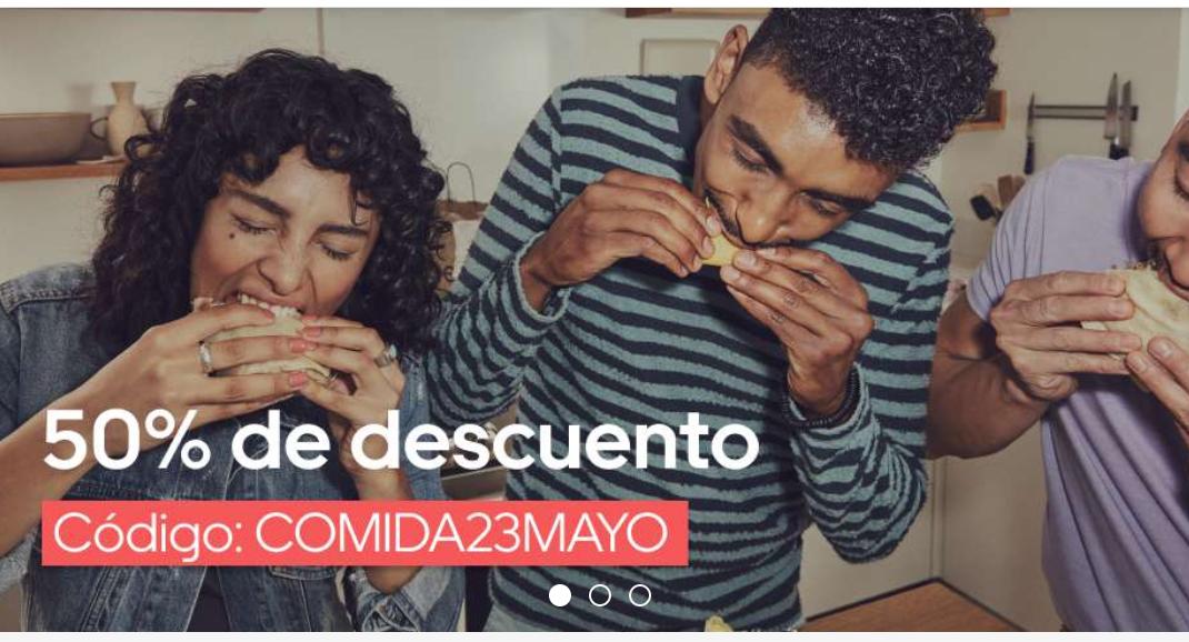50% en Uber eats durante hoy hasta las 19:00h (18:00h en Canarias)