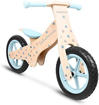 Lalaloom BUBBLE BIKE - Bicicleta Andador Madera azul diseño topos burbujas sin Pedales, Correpasillos niños Sillín regulable ruedas goma EVA