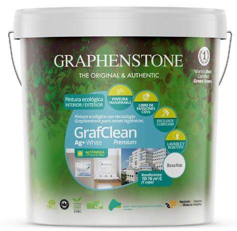 Pinturas Graphenstone Premium antibacteriana con iones de plata. Varios tamaños color blanco