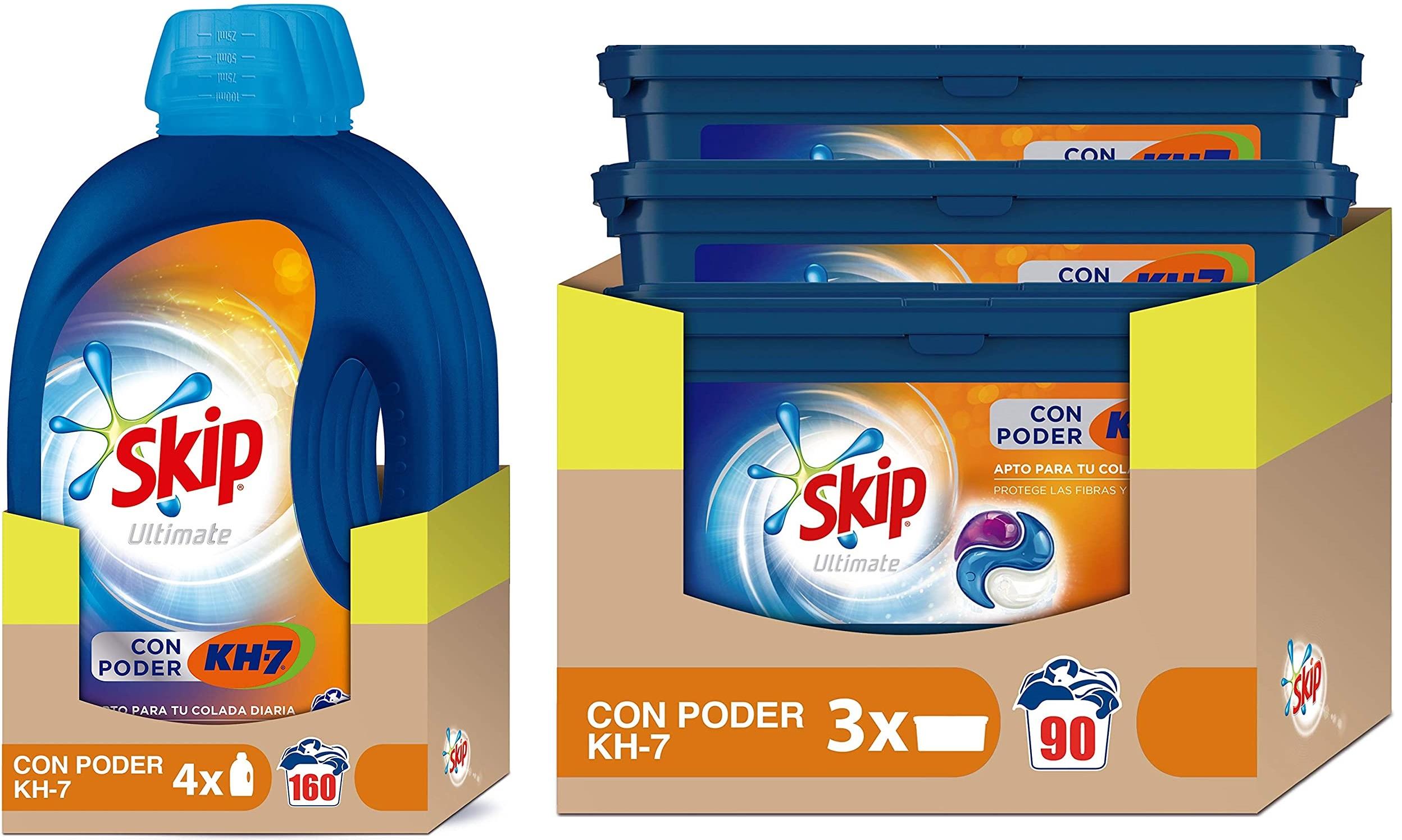 Skip líquido (27,54 €) y Skip en cápsulas (19,94 €) con suscripción