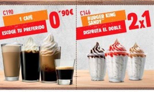Cupones Burger King rebajados y 2x1 en Helados Sandy (0'95€ ud) + Café helado sólo 0'90€