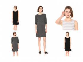 Marca Amazon - Daily Ritual: vestido de cuello de barco de algodón ligero para mujer