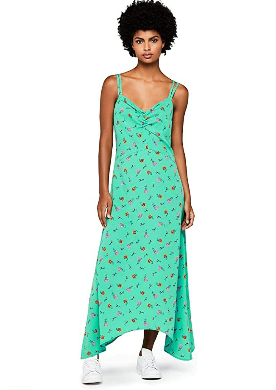 TALLA 38 - Marca Amazon - find. Vestido Largo de Tirantes con Estampado de Flores Mujer
