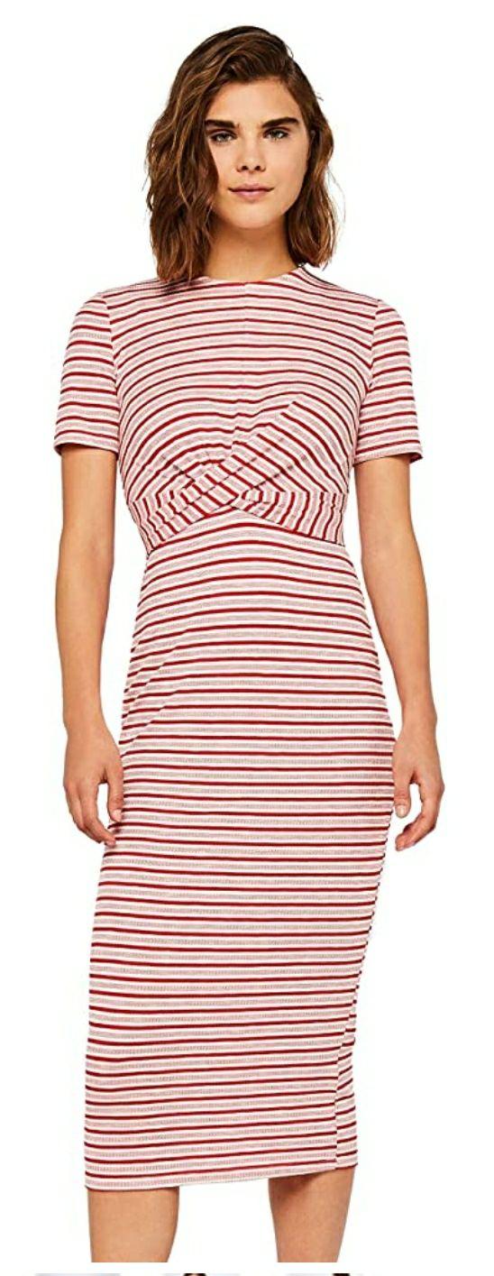 TALLA 48 - Marca Amazon - find. Vestido Estampado con Cinturón Anudado Mujer