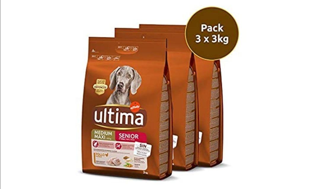 Ultima pienso para Perro Medium-Maxi Senior con pollo, pack de 3 x 3 kg - Total 9 kg (compra recurrente)