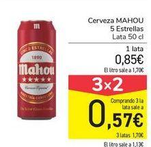 Cerveza Mahou 5 Estrellas. 3x2 lata de 50cl