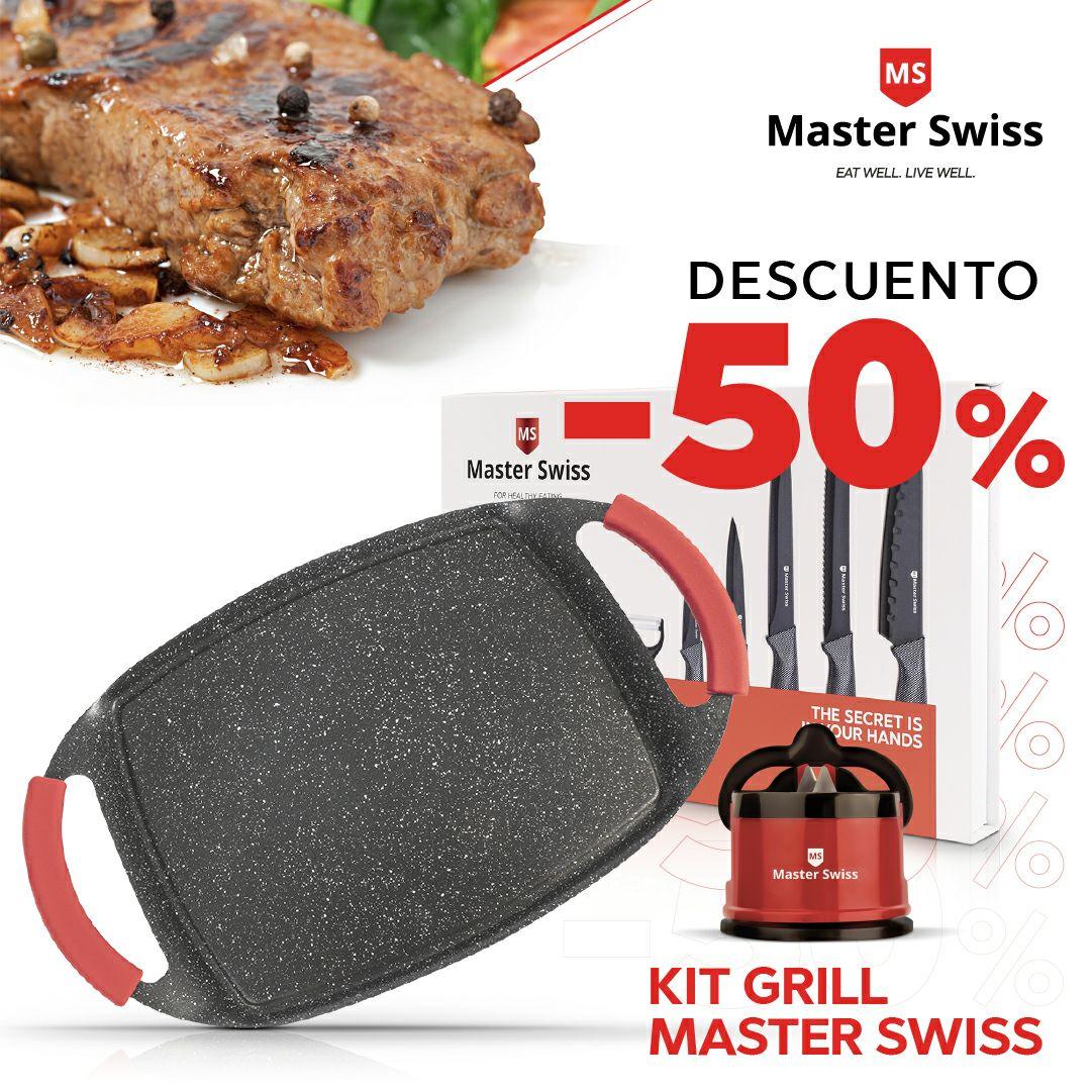 INCREÍBLE KIT: Parrilla + set de cuchillos + afilador