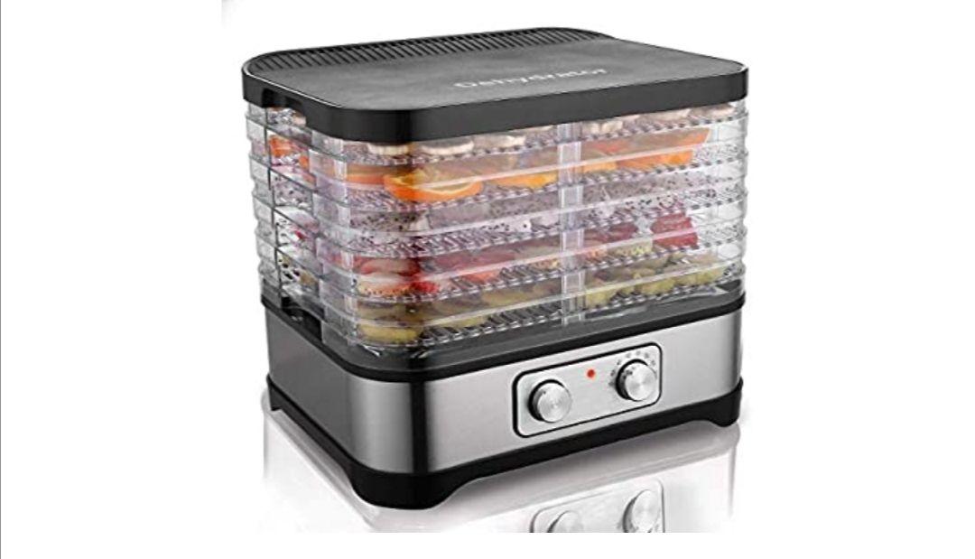 Hopekings Deshidratador Alimentos 5 Pisos, Deshidratadora de Frutas y Verduras 250W, Termostato ajustable 35-70 ° C