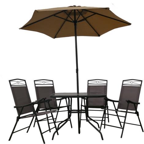 Conjunto de Jardín 1 Mesa + 4 Sillas + 1 Parasol Gris