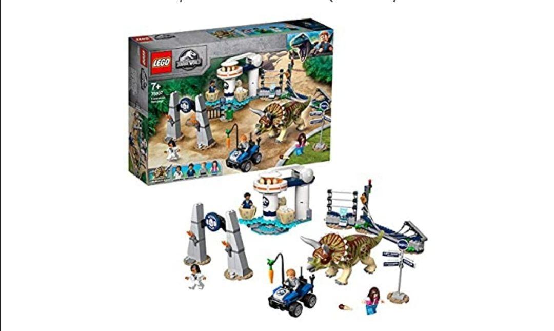 LEGO Jurassic World - Caos del Triceratops Juguete de construcción de Dinosaurios Inspirado en las Películas de Jurassic World,