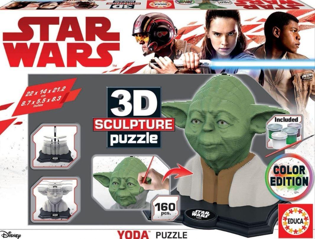 Puzzle 3D Star Wars Yoda. Incluye pinturas, pincel y peana (precio al tramitar)