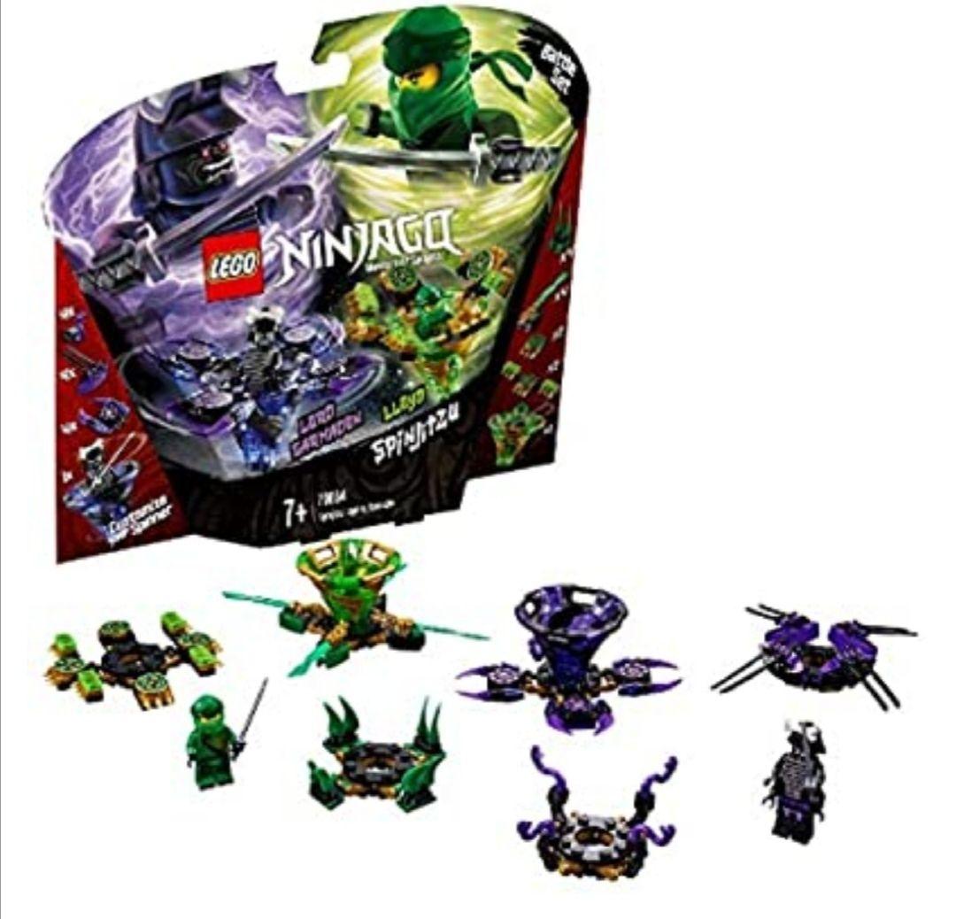 LEGO Ninjago Spinjitzu Lloyd vs. Garmadon - Peonzas de ninjas de juguete, color verde y morada
