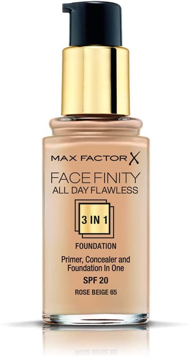 Max Factor Face Finity 3 en 1 All Day Flawless - Base de Maquillaje TONO 065 Rose Beige