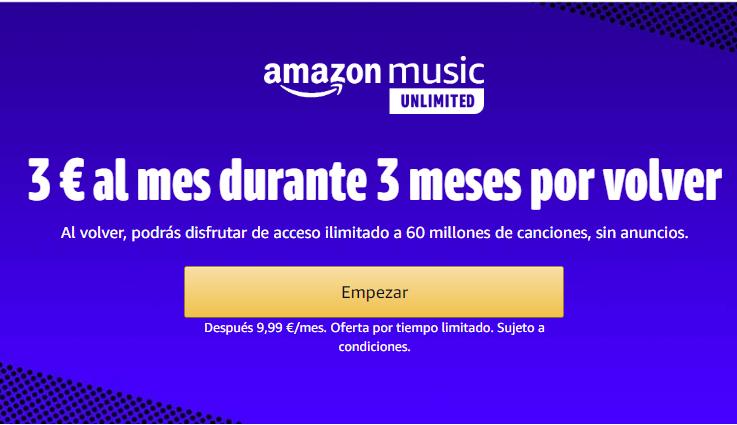 Amazon Music Unlimited 3 meses por 3 € si ya te suscribiste alguna vez (solo aptos)