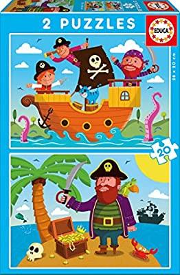 2 puzzles educa de 20 piezas tema: piratas