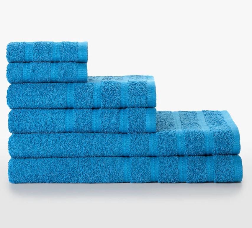 Juego de 6 toallas 100% algodón Harbour (Colores disponibles: Azul, Rosa, Ocre y Verde)
