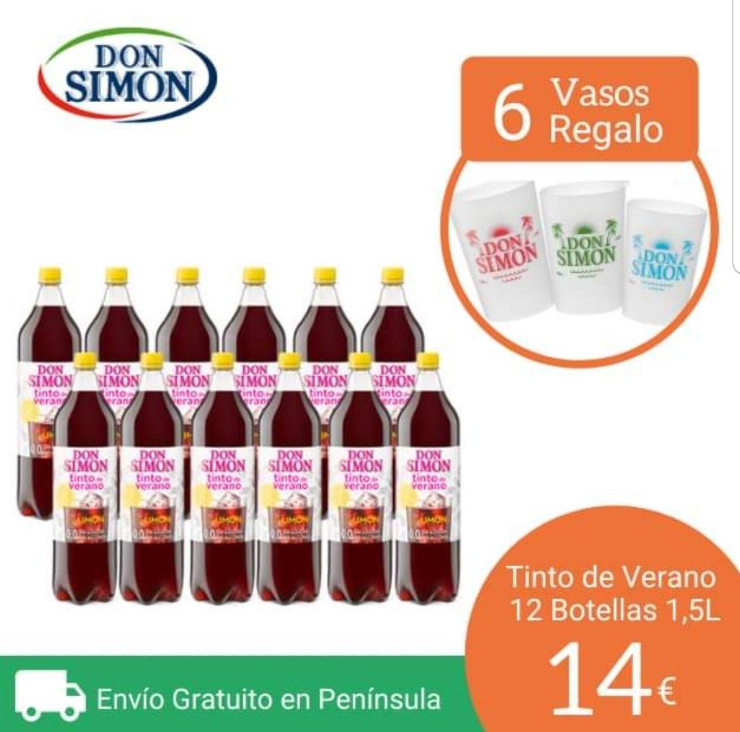 12 botellas Tinto de Verano Don Simón Al limón sin alcohol 1.5L X 12 bot (envío gratis y 6 vasos gratis)