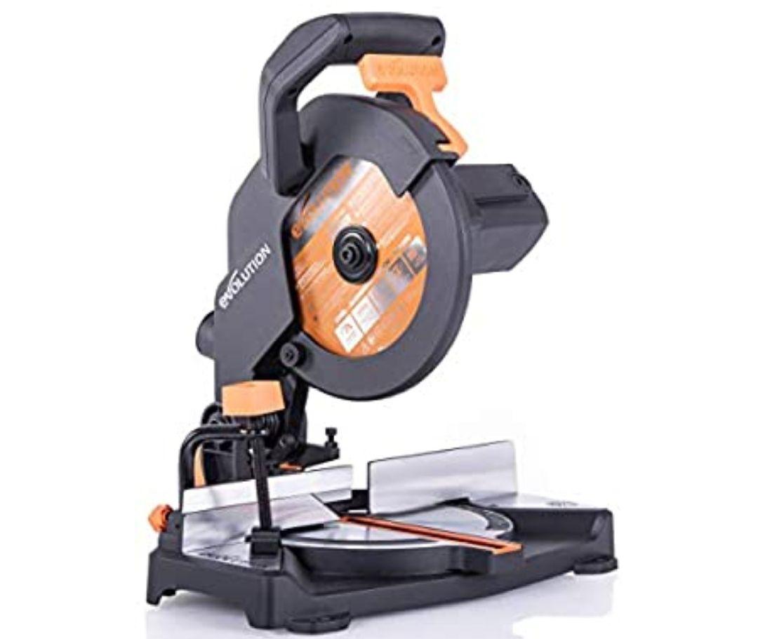 Evolution Power Tools R210CMS Sierra ingletadora fabricada de un compuesto multimaterial, 230 V, 210 mm + Hoja incluida *Mínimo histórico*