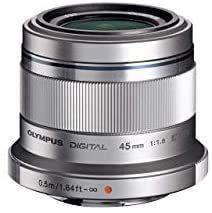 Objetivo Olympus M.Zuiko Digital 45mm F1.8, longitud focal fija rápida, apto para todas las cámaras MFT (Plata y negro)