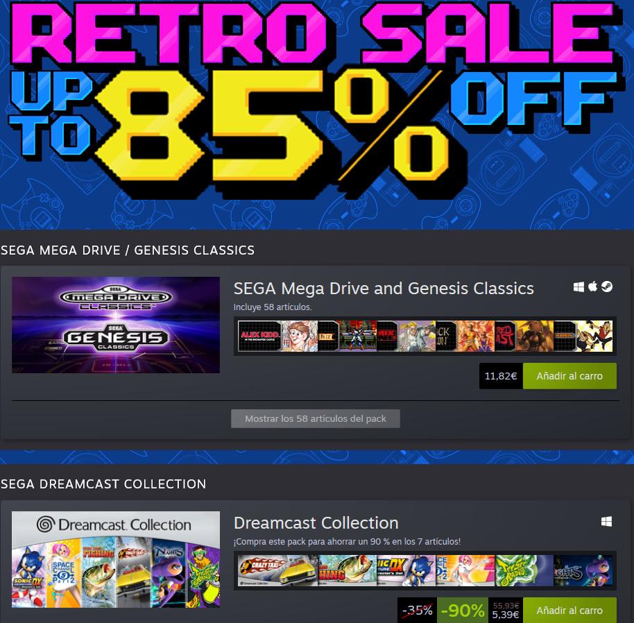 Retro Sega (85% dto.): Dreamcast Collection (7 juegos) por 5,39€ y Sega Mega Drive and Genesis Classics (58 juegos) 11,82€