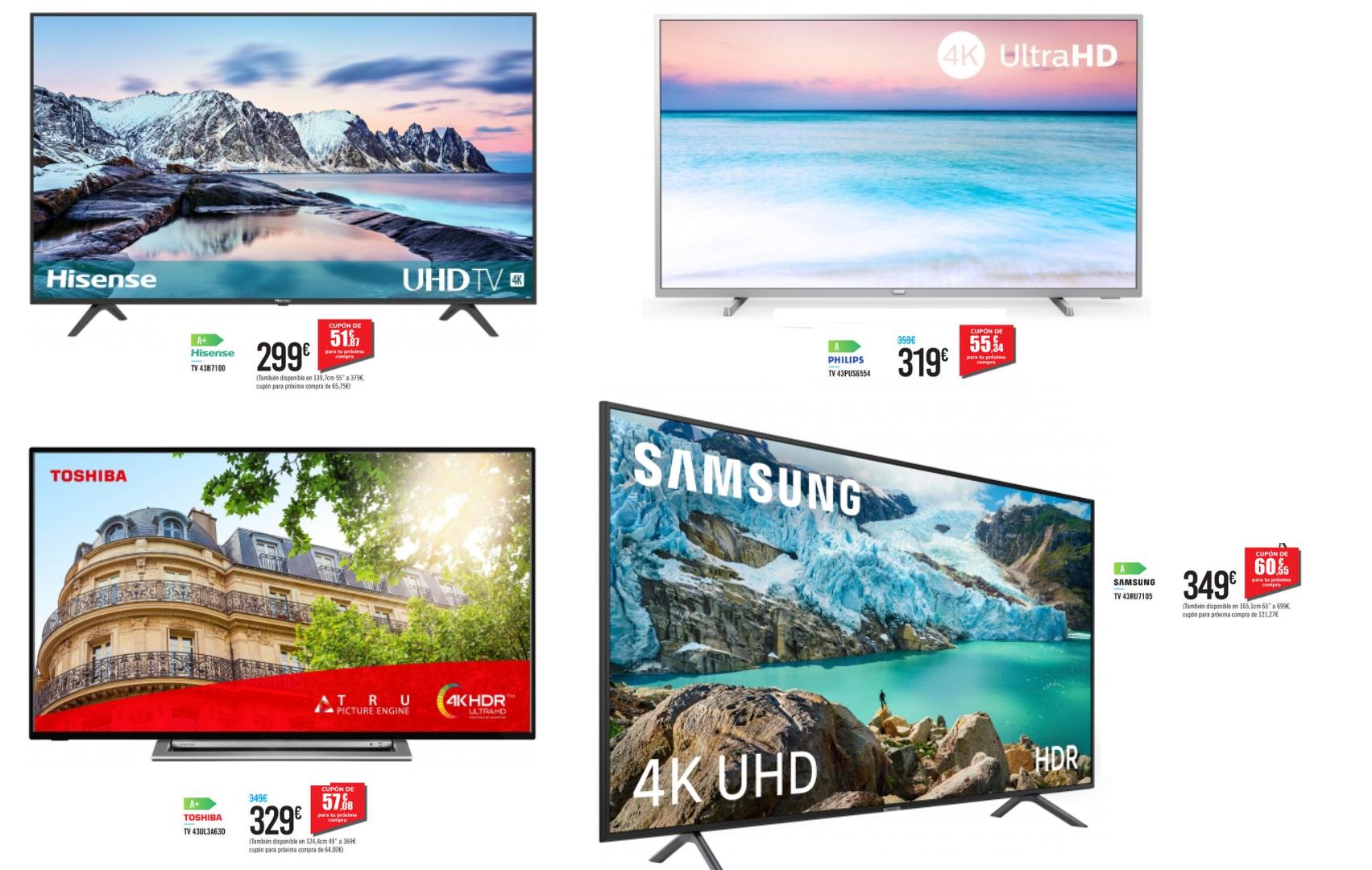 """CUPONES 51.87€, 55.34€, 57.08€ y 60.55€ - TV 43"""" Marcas Hisense, Philips, Toshiba y Samsung"""
