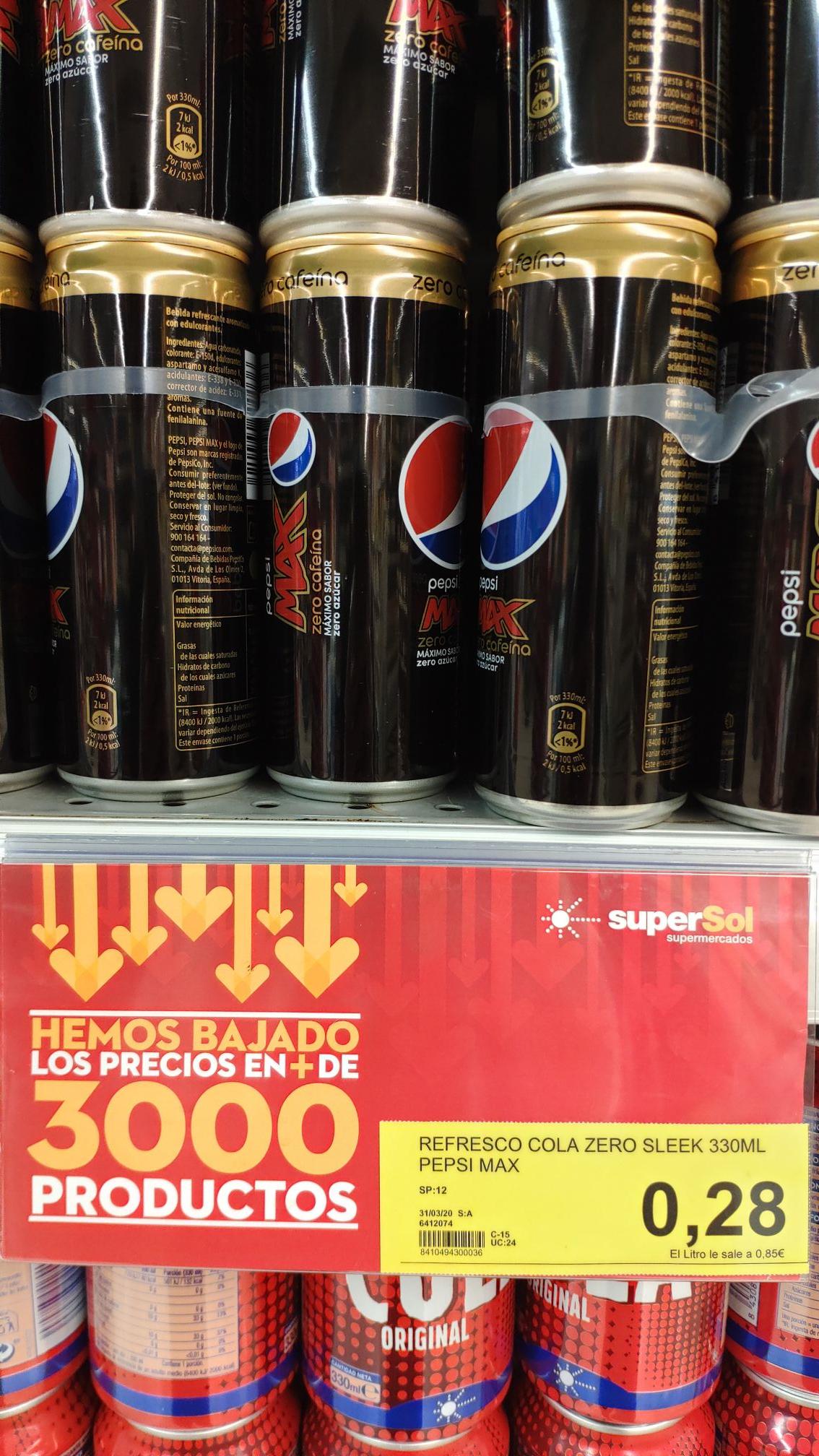 Pepsi Max Zero Cafeína Supersol Almonte